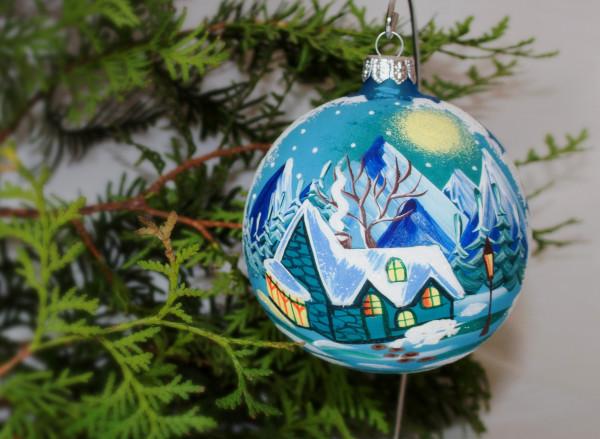 "Weihnachtskugel ""Berghütte"", Christbaumkugel hangemalt"